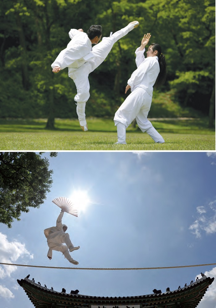 <B>1. Taekkyeon</B> A traditional Korean martial art marked by elegant yet powerful physical movements. <B>2. Jultagi</B> Performance of tightrope walking combined with singing, comedy and acrobatic movements.