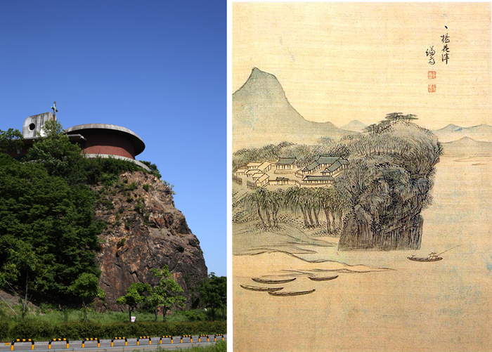 Jeoldusan at the eastern tip of Yanhwajin (left); Yanghwajin drawn by Joseon artist Gyeomjae Jeongseon (right)