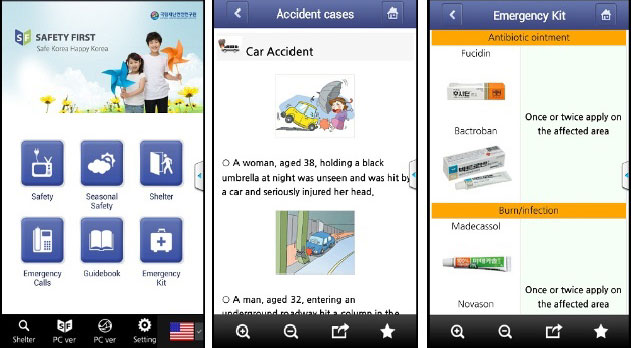 (From left) The Safety First app provides information about general day-to-day safety, seasonal safety, shelters, emergency calls and first aid kits. In the second picture, the app explains how to deal with a car accident. In the third picture, the app lets you know about some necessary medicine that houses should to keep in their first aid kit.